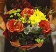 Букет с рыжими розами